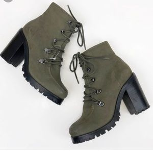 Seychelles Theater Green Leather Booties